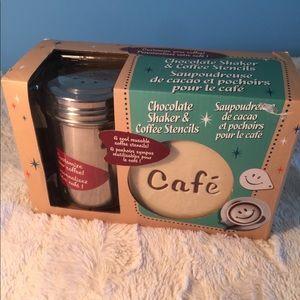 Chocolate shaker and coffee stencils.